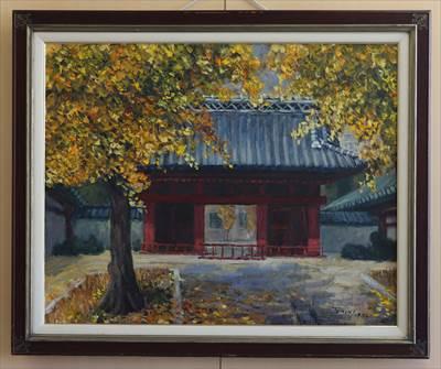 前田藩上屋敷門前の秋 (東京大・赤門)