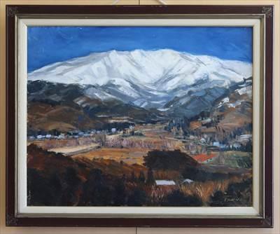 雪山と山里